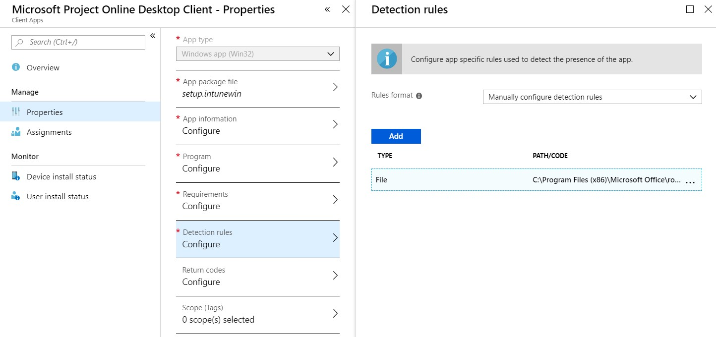 Intune – Installing Visio or Project separately – Modern